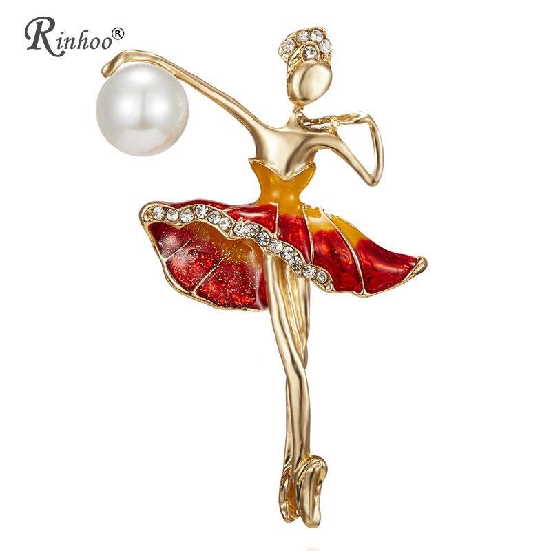 RINHOO гимнастика девушка броши для Для женщин Симпатичные контактный Bijouterie высокое качество корсаж кристалл Модные украшения 3 цвета брошь