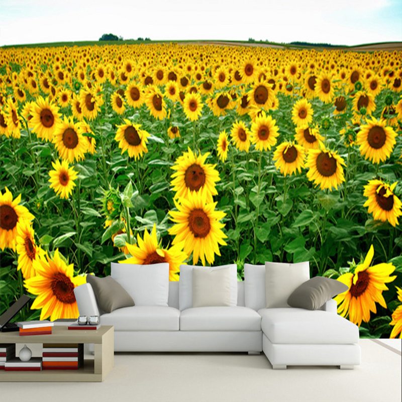3d Wallpaper Pastoral Style Sunflowers Nature Landscape