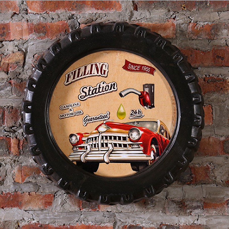 Station service grande voiture pneus MDF moussant signe Vintage bois peinture café Bar décor rétro Mural affiche Mural autocollant 40X40X7 CM