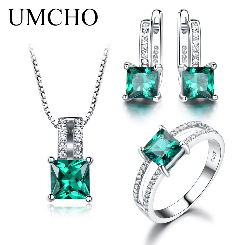 UMCHO Solid 925 Sterling Silver Jewelry Set Nano Green Emerald Ring Set Pendant Stud Earrings For Women Wedding Party Jewelry classic 10 75ct nano russian emerald ring emerald cut solid 925 sterling silver ring set best brand fine jewelry for women