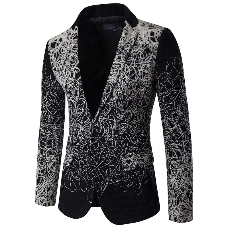 Silver Black Blazer Men Floral Casual Slim Blazers Single Breasted Mens Suit Jackets Plus Size Jacket Suit tunic masculino 5XL цены