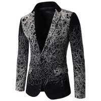 Silver Black Blazer Men Floral Casual Slim Blazers Single Breasted Mens Suit Jackets Plus Size Jacket Suit tunic masculino 5XL