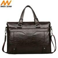 Large Capacity Man Business Laptop Briefcase Leather Solid Men Shoulder Bag Men's Work Bag High Quality Man Handbag bolso hombre