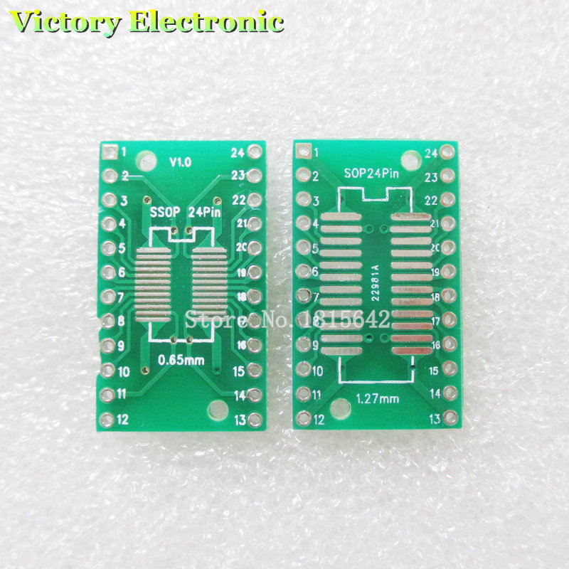 20PCS/Lot SOP24 SSOP24 TSSOP24 to DIP24 PCB SMD DIP/Adapter plate Pitch 0.65/1.27mm PCB Board image