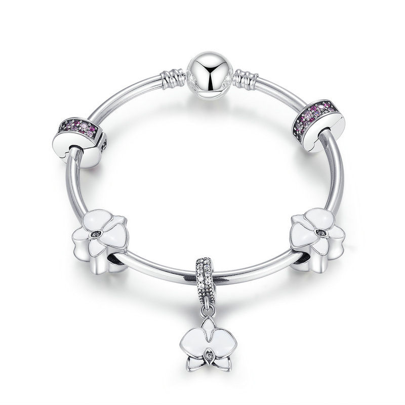 New Arrivals Authentic 925 Sterling Silver Orchid, White Enamel, Clear & Orchid CZ Charm Bracelets Sterling Silver JewelryPSB012 недорго, оригинальная цена