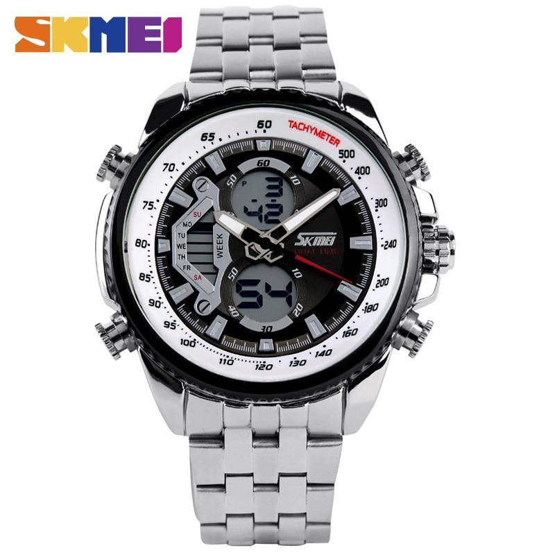 SKMEI Men Sport Digital Fashion Casual Watches Stain Steel Silver Wristwatch Led Water resistant Quartz Watch Relogio Masculino 1