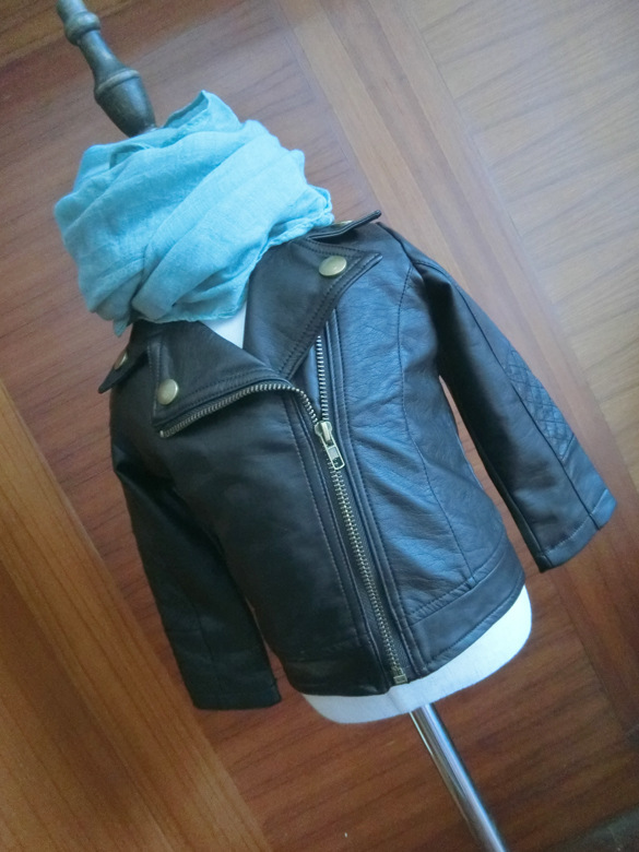 Wind PU Leather Leather Coat Baby Boys and Girls Short Children Jacket 3