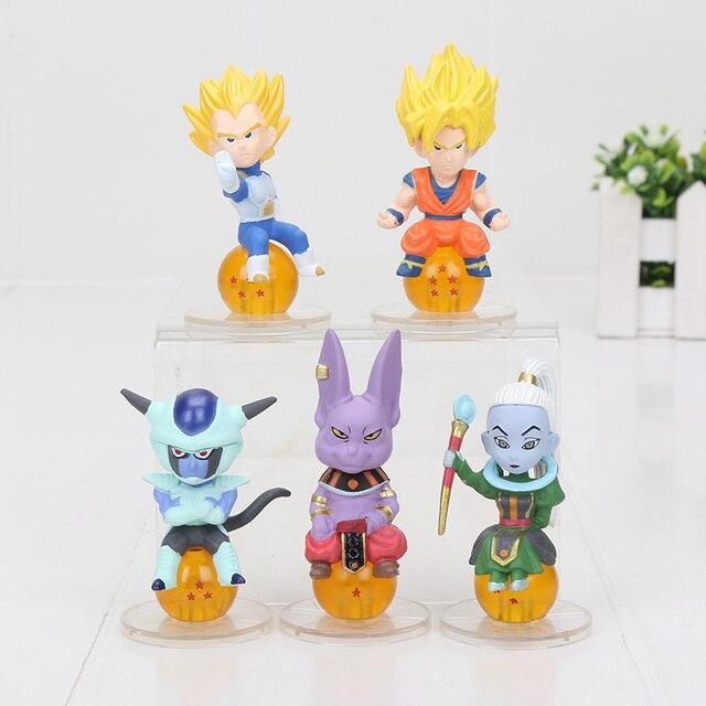 5 pçs/set 5-7 CM Dragon Ball Super Saiyan Vegeta goku Uisu Shanpa freeza com bonito bola Figura de Ação Brinquedo PVC Bola Dragão figura