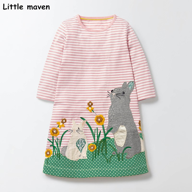 Little maven kids brand clothing 2017 autumn baby girls clothes Cotton grass flower rabbit cloth girl stripped dresses S0271 little maven 2017 new summer baby girls floral print dress brand clothes kids cotton duck rabbit printing dresses s0136