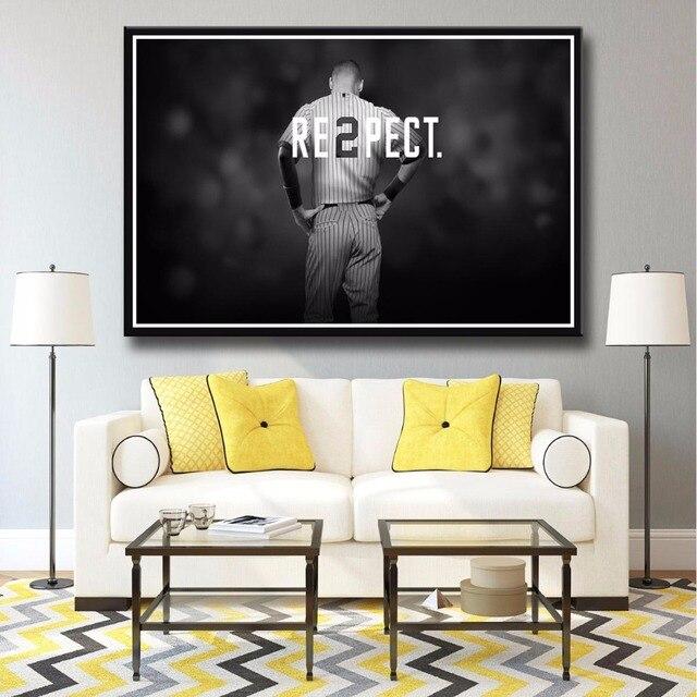 J0238 Derek Jeter Respect New York Yankees Sport Hot Top Art Print Poster Silk Light