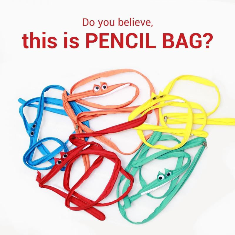 Creative Stationery Kawaii Cartoon Monster Pencil Case Korean Stationery One Zipper Bags Fabric Pen Case