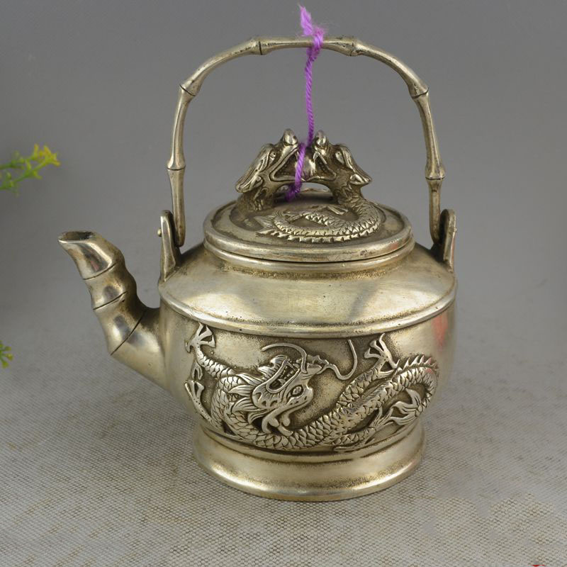 Crafts statue Collectible Decorated Silver Dragon statue bamboo kettle mouth teapot kettle Lucky DecorationCrafts statue Collectible Decorated Silver Dragon statue bamboo kettle mouth teapot kettle Lucky Decoration