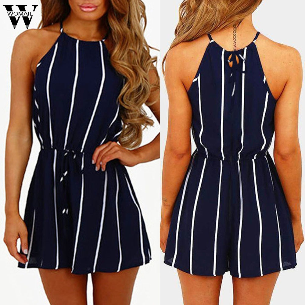 Womail Bodysuit Women Summer Stripe Off Shoulder Sleeveless Rompers Jumpsuit Playsuit Bodysuit Party Fashion 2019 Dropship F28