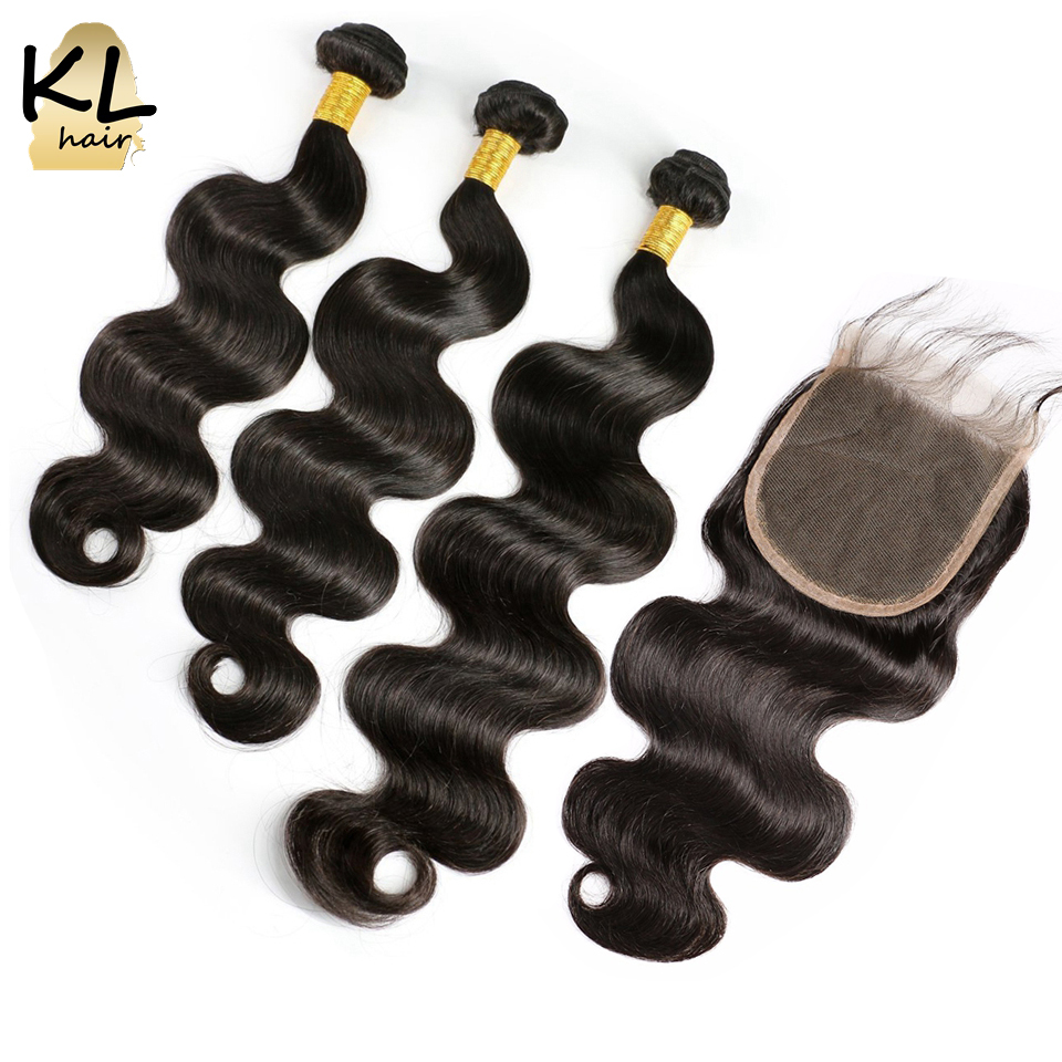 KL Hair Body Wave 5x5 Lace Closure With Bundles Brazilian Remy Hair Human Hair Closure Bleached