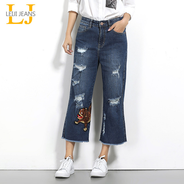 70570a7cc18bc LEIJIJEANS 2018 Summer Plus Size Ripped Tassel Tiger Embroidery Vintage Mid  Waist Craft Length Women Loose Wide Leg Jeans 5694