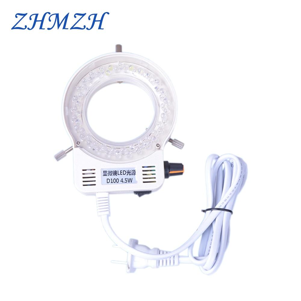 D100 Microscope LED Light Source Brightness Adjustable 56 LEDs Ring Lamp Dimmable 110V 220V Diameter 63mm Free Shipping