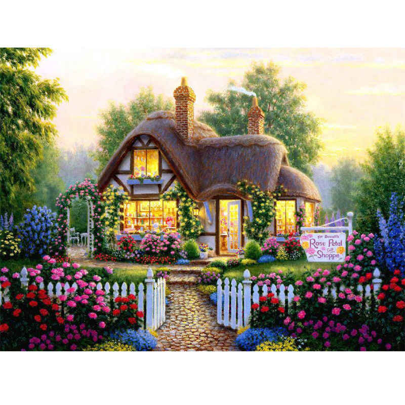 Needlework Full Diy Diamond Painting Villa Scenery Diamond Embroidery House Square Drill Craft Painting Mosaic Decorate Picture