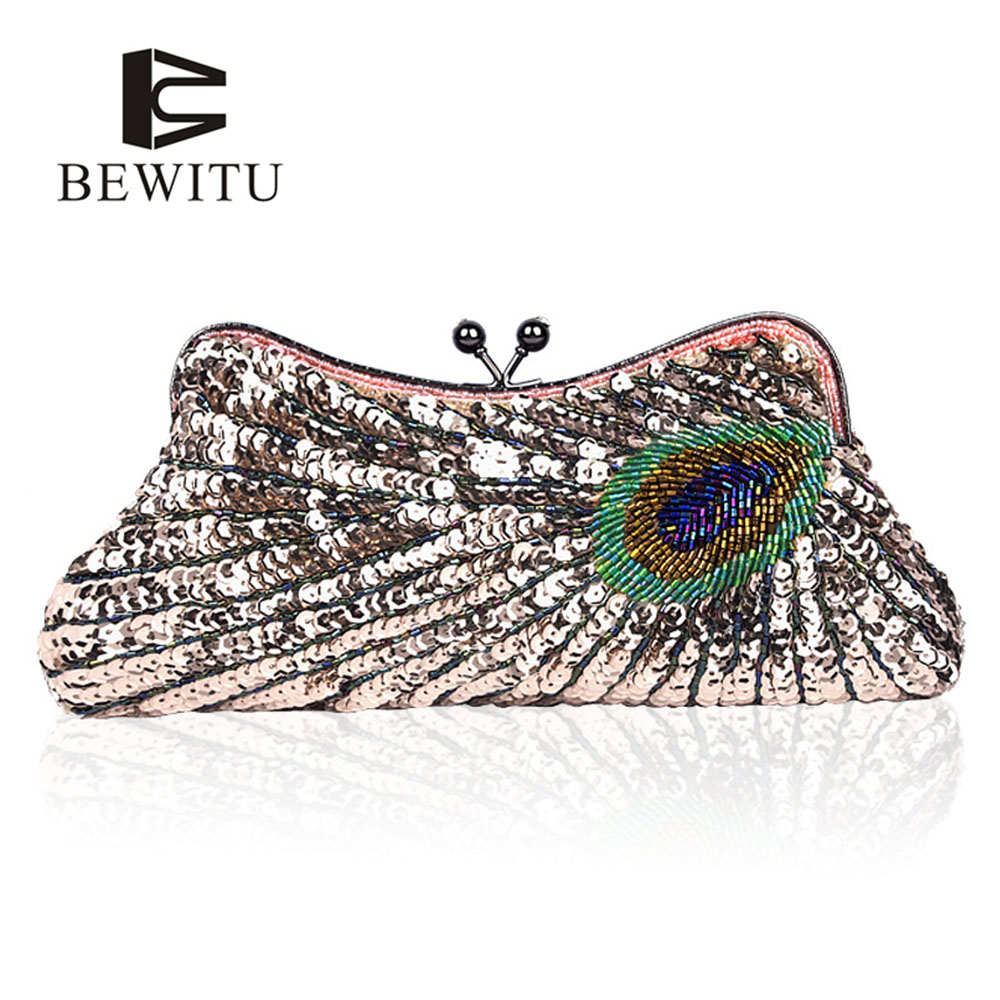 BEWITU Hot Selling Beaded Sequins Evening Party Handbag Hand Shoulder Bags Handmade Beaded Clutch Bag Party fashion hot new aotian glitter sequins spangle handbag party evening clutch bag wallet purse dropshipping 72 24