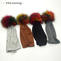 GZHilovingL Winter Polyester Womens Slouch Beanie Hats With Multi Color Real Fur Pompoms Mens Soft Long Baggy Oversize Knit Caps
