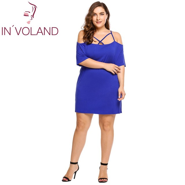 IN VOLAND Women Sexy Dress Plus Size Summer Spaghetti Strap Cold Shoulder  Cross Front Half Sleeve Party Beach Dresses Oversized 8892e5a0615d