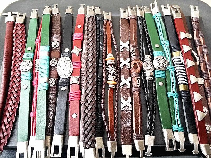 wholesale 50pcs assorted men s Genuine Leather vintage cuff bracelets brand new mix designs