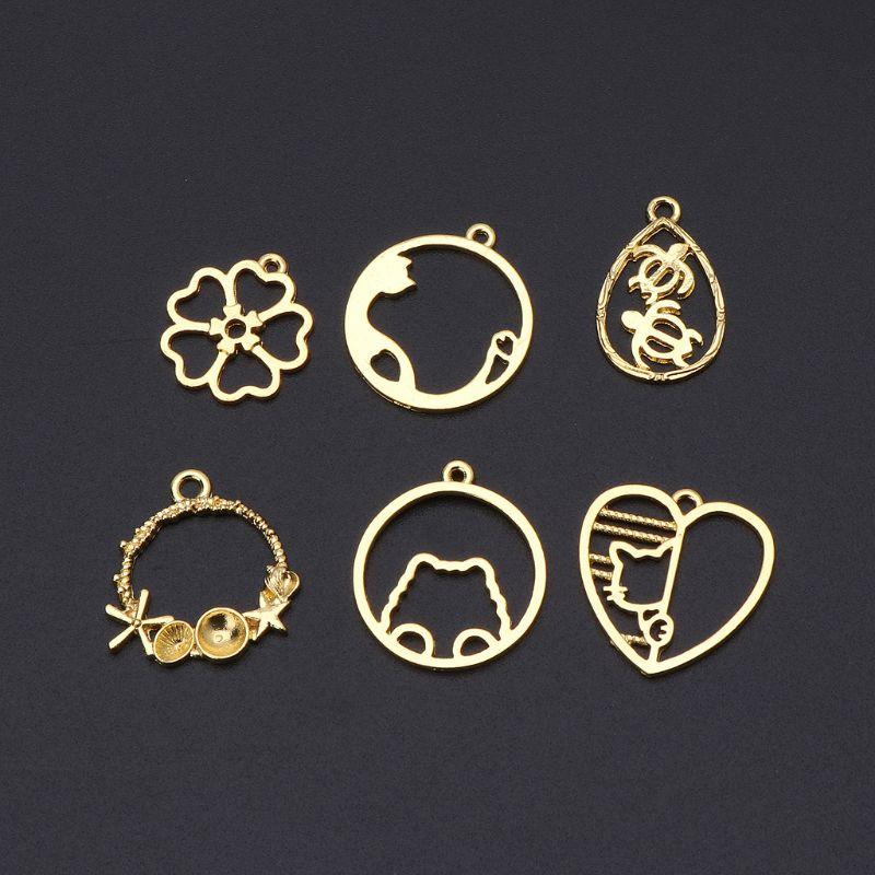 6Pcs Cat Flower Frame Pendant Open Bezel Blank Setting UV Resin Jewelry Charms