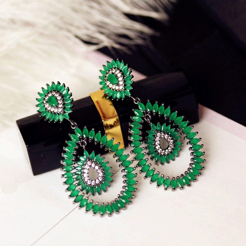 Luxury Fashion AAA Cubic Zirconia Beautiful Green Stone Long Big ...