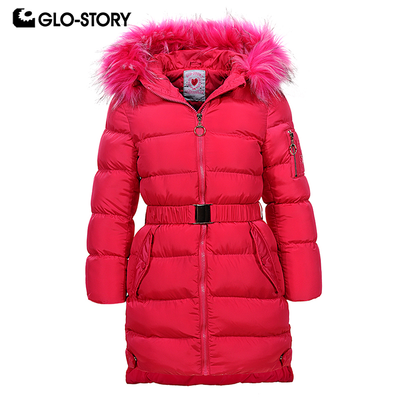 GLO-STORY New Girls Winter Coats Parka with Fur Hood Waistband Solid Thick Coats Kids Winther Jackets GMA-6455 winter men jacket new brand high quality candy color warmth mens jackets and coats thick parka men outwear xxxl