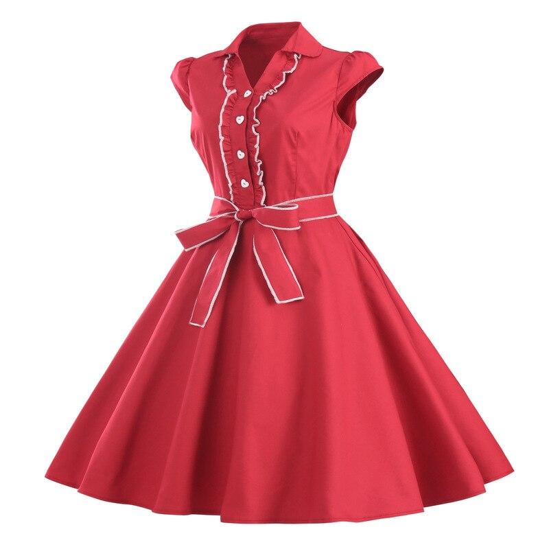 d97329b3a39 Vintage Big Sashes Rockabilly Dress Women Summer Swing Tunic Dress Retro  Sundress with Belt School Vestido De Festa Z3D110-in Dresses from Women s  Clothing ...
