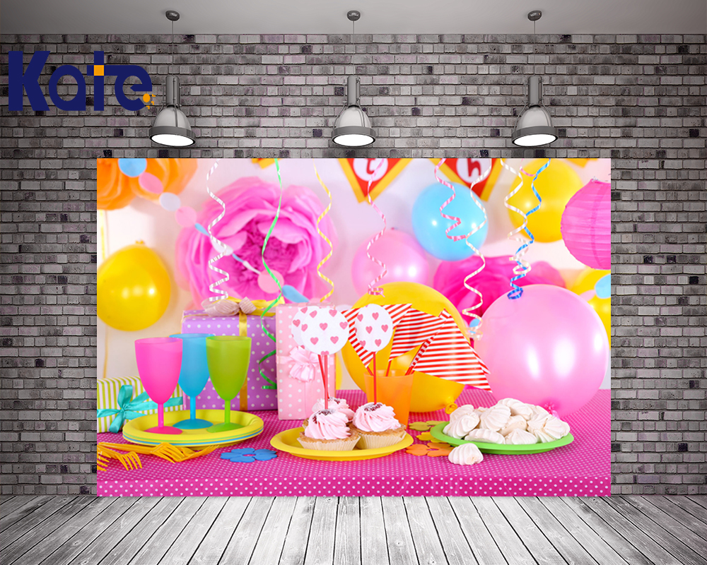 Kate Happy Birthday Theme Backdrops Colorful Balloon Delicious Cake Photo Backdrops For Birthday Party Photography Background