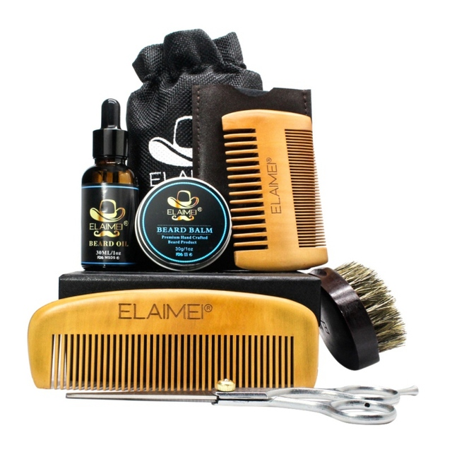 Beard Hair Care Set Beard Oil Comb Brush Whiskers Scissor Styling Tools Kit Easy to use One Set for Men 6