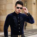 new style 2016 Men's Fashion Floral stitching shirt high quality casual long-sleeve shirt Local tyrants gold S-3XL Dress MT16043
