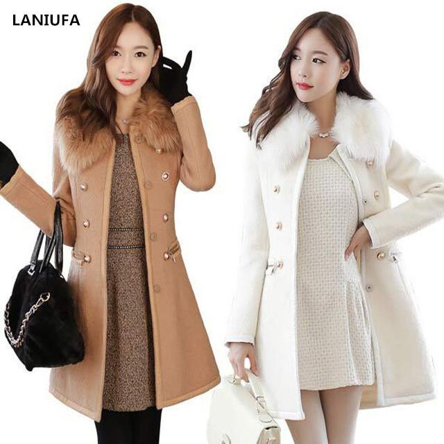new Long Autumn Winter Coat Women Wool Blends Coats Female Jacket Winter Woman Coat Warm Windbreaker Abrigos Mujer Wool Women 2