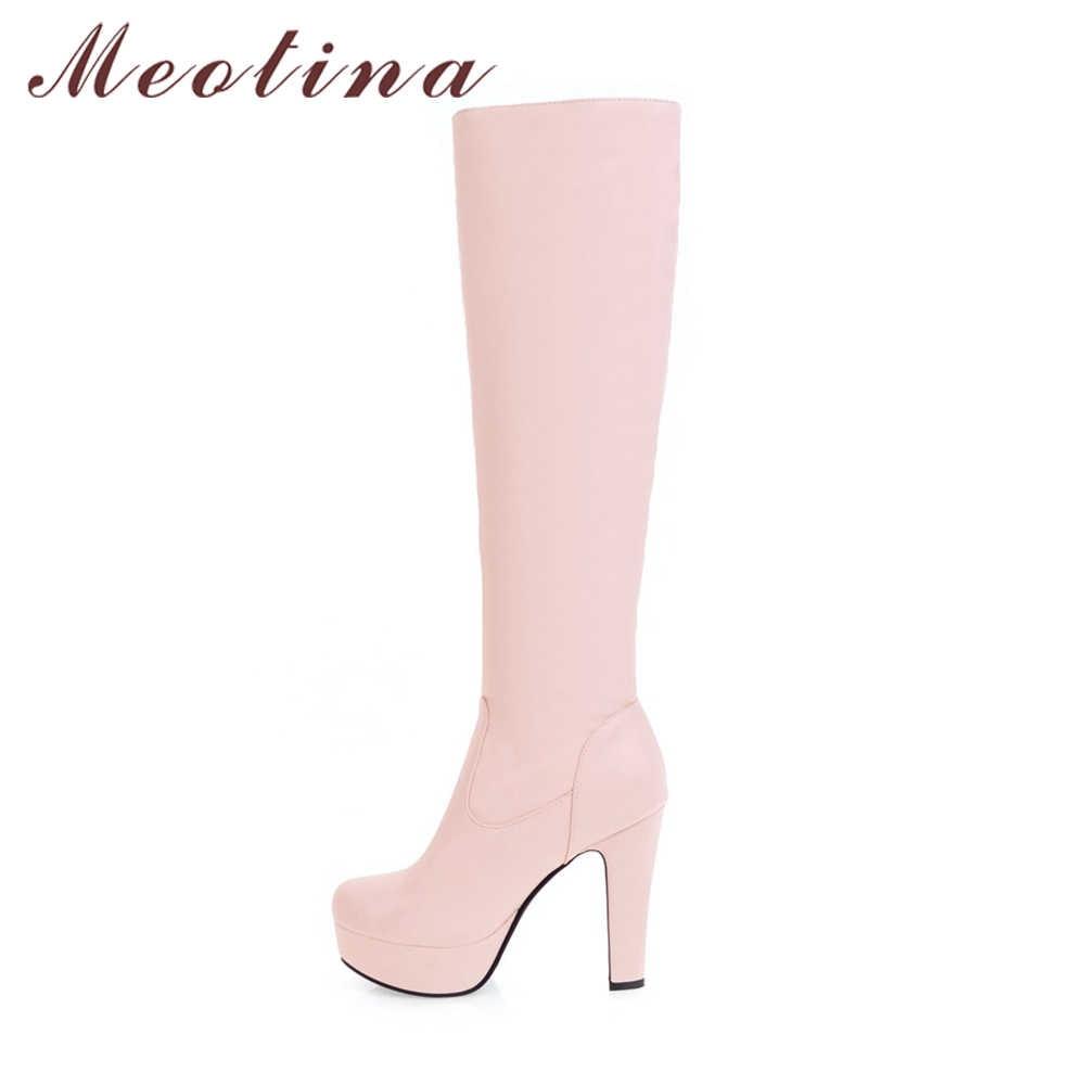 Женские сапоги на платформе Meotina, черные зимние высокие сапоги до колена, на высоком каблуке, с закругленным носом, до 45-го размера