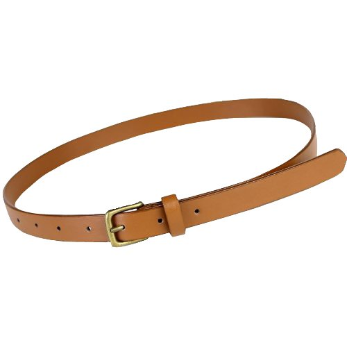 Girls Ladies Skinny Slim Narrow Belt Dress Belt - Tan