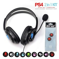 Wired Gaming Headphone Headset Earphone For Playstation PS4 With Microphone Adding 2pcs Of PS4 Controller Thumb