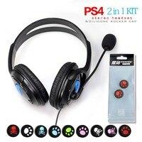 Przewodowy gaming słuchawki słuchawki douszne dla playstation ps4 akcesoria, dodanie 2 sztuk z PS4 Controller Thumb Stick Powłoki Cap
