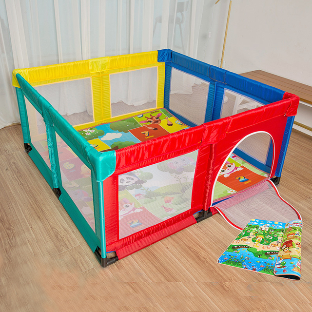Foldable Baby Playpen Fence Steel Pipe Baby Climbing Play Fence