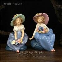 Творческий керамическая девочек леди цветы красоты статуя домашнего декора ремесла украшение номера Ремесленная Старинные фарфоровые ста