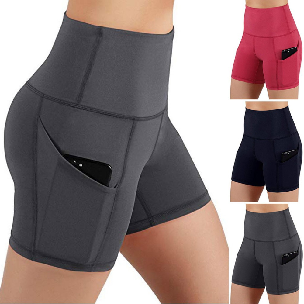 High Quality Women's Shorts High Waist Pocket Short Abdomen Control Training Running Daily Sportswear 2019 Hot Sale