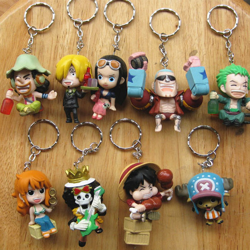 2017 New anime one piece cute lovers keychain pvc 9pcs/set  Luffy Zoro Sanji resin action figure cute model toy freeshipping anime one piece 6pcs set gear fourth luffy zoro franky sanji doflamingo pvc action figure collectible model toy 7cm 8 5cm kt2384