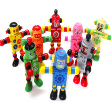 1 Pcs Wooden Robot Learning & Educational Kids Early Learning Toy Style Color Random(China)