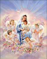 2014 New Arrival Needlework Diy Diamond Painting Children With Mother Rhinestone Pasted Cross Stitch Kit Wall