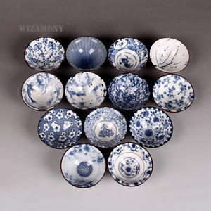 WIZAMONY Tea-Bowl Drinkware Teacup Glaze Ceramic Bue Chinese-Porcelain White Kung-Fu