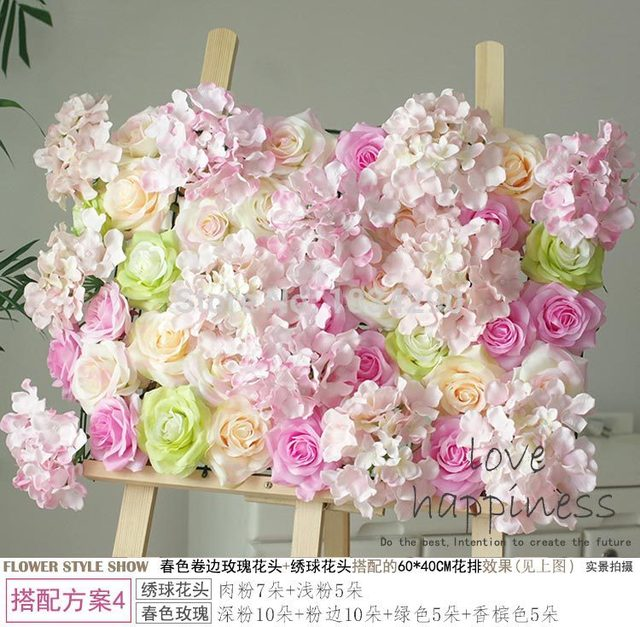Spring Color 5pcslot Artificial Silk Rose Flower Wall Wedding