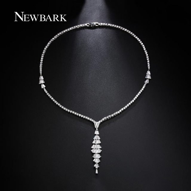 Newbark jewelry clear cubic zircon bride necklaces long pendant newbark jewelry clear cubic zircon bride necklaces long pendant necklace for women wedding jewelry collier femme junglespirit Image collections