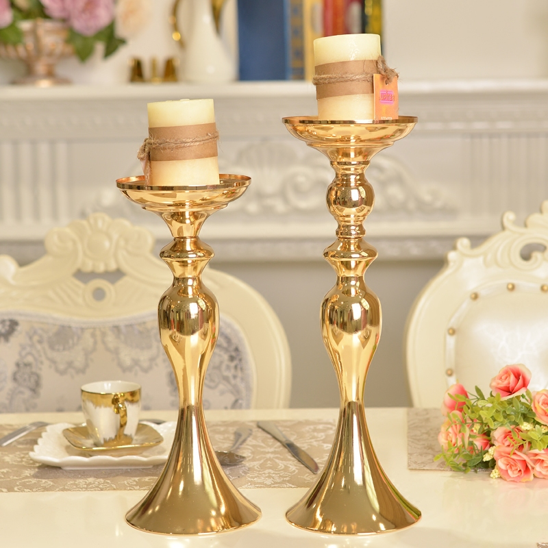 Sizes gold metal candle holder stick silver