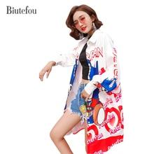 2019 Fashion cartoon print long shirts women new arrival autumn loose