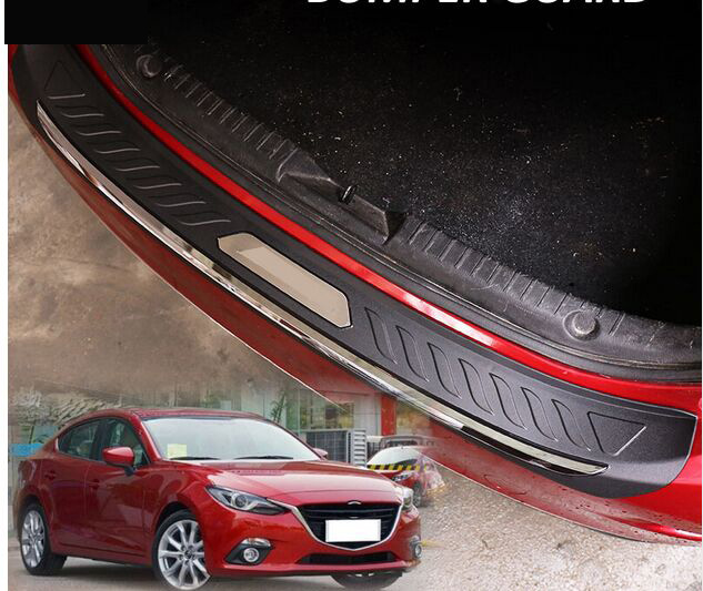 FIT FOR Mazda 3 AXELA BM 2014 2015 16 ABS REAR DECK BUMPER PROTECTOR STEP PANEL BOOT COVER SILL PLATE TRUNK TRIM GARNISH