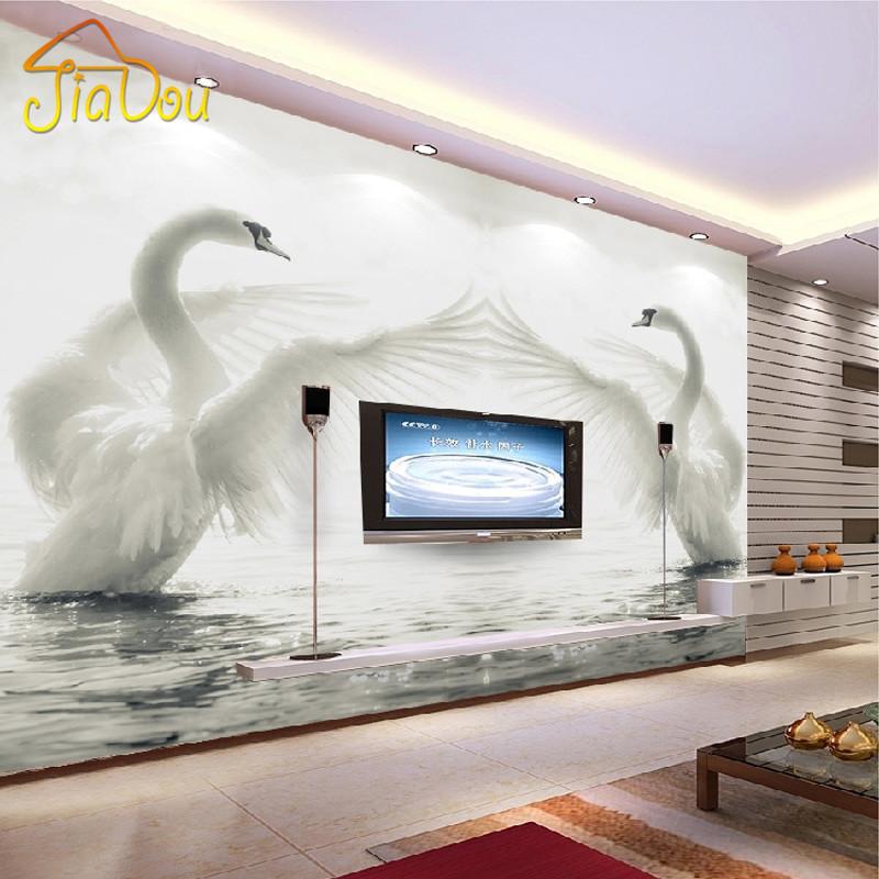 pared d rollo de papel mural cisne romntico dormitorio sala de estar tv de fondo